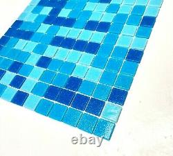 1x1 Pool Blue Spa Navy mix Glass Mosaic Wall and Floor Tile Pool (BOX OF 10)