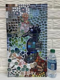 21x 11-1/2 Seahorse Mosaic Glass & Tile Wall Hanging or Leaner Plaque Nautical