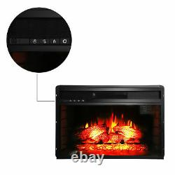 26 1500W Embedded Fireplace Remote Control Incline Wall Tile Fake Wood Electric