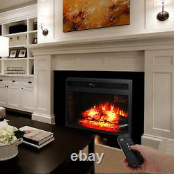 26 1500w Electric Fireplace Wall Tile Insert Heater Log Flame Remote Control
