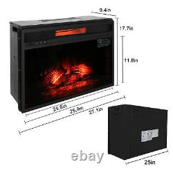 26 1500w Embedded Fireplace Inclined Wall Tile Fake Wood With Remote Control US