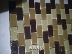 28pc lot of 28 Modern Linear Brown Grey Glass Stone Tile Backsplash Kitchen wall