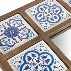28x38 Indigo Moroccan Tile Framed Wall Mounted Mirrors, Blue