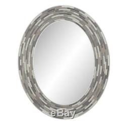 29 In. L X 23 In. W Reeded Charcoal Oval Tiles Wall Mirror
