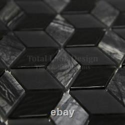 3D Nero Glass & Marble Mosaic Tiles Sheet For Walls Floors Bathrooms Kitchen