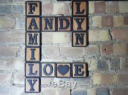 3D Tiles Scrabble Wooden Letter Wall Art Plywood Finished Oil Decor Personalised