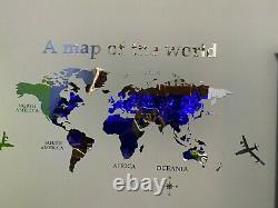 3D World Map Acrylic Wall Sticker Home Decor Decals Mural Room Brick Mirror DIY