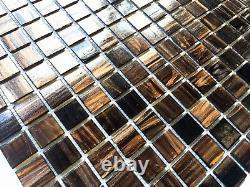 3/4 x 3/4 Copper Gold Glimmer Glass Mosaic Tile Backsplash Kitchen (BOX OF 10)