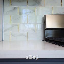 4 x 8 Super White Calacatta Stone Glass Subway Tile Gold Trim Backsplash Wall