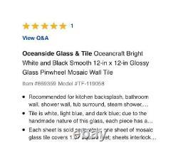 50 Sheets Ocean Craft Black White Pinwheel Glass Mosaic Tile Kitchen Backsplash