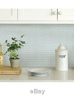 6 Pack Of 4 SEA GLASS BACKSPLASH TILES PEEL & STICK TEAL BLUE HOME WALL STICKERS