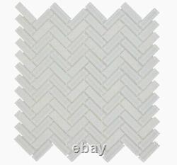AMERICAN OLEAN Serentina Bliss 12x12 Glass Herringbone Mosaic Tile, 30 Ct, NEW