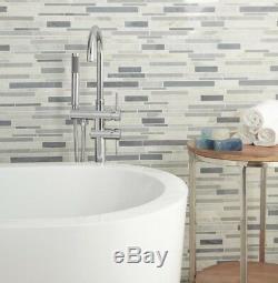 American Olean Genuine Stone Ice Gray 11 X 13 Linear Mosaic Wall Tile