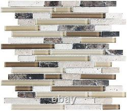 Anatolia Bliss Cappuccino Glass and Stone Random Strip Mosaic Tiles-Backsplash