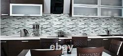 Anatolia Bliss Iceland Glass and Stone Random Strip Mosaic Tiles-Backsplash