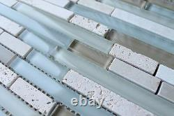 Anatolia Bliss Spa Glass and Stone Random Strip Mosaic Tiles Backsplash