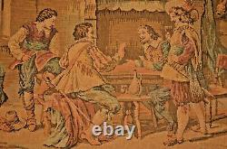 Antique Tapestry Renaissance Wine Drinking Dining Embroidery Scene Gilded Frame