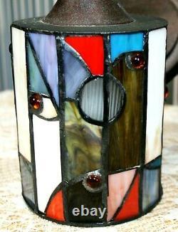 Art Deco Sconces Slag Glass Warhol Dali Style Mosaic Tile Porch Wall Light Lamp
