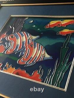 Art Glazed Tile Reefs & Fishes Glass Frame Vintage Wall Artist Decor