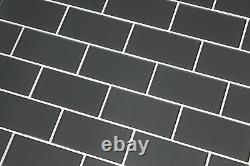 Ash Grey 3x6 Glass Subway Tiles for Kitchen Backsplash/Bathroom
