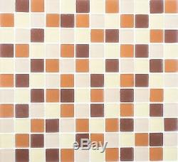BEIGE/BROWN MIX FROSTED Mosaic tile GLASS Square WALL Bath 72-1311 10 sheet