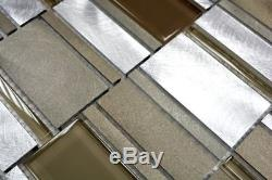 BEIGE/BROWN Mix Mosaic tile Brushed ALU/GLASS Wall Backsplash 49-1202 f 10sheet