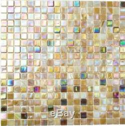 BEIGE/BROWN Mix Pearl Iridescent Square Mosaic tile GLASS Wall Bath 58-1204 b