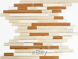 BEIGE/TERRACOTTA MIX Mosaic tile GLASS/STONE BRICK WALL Bath -86-1204 10 sheet