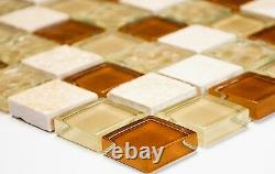 BEIGE/TERRACOTTA MIX Mosaic tile GLASS/STONE Kitchen&Bathroom-82-1204 10 sheet