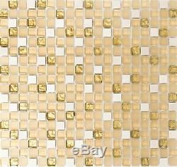 BEIGE/WHITE/GOLD Mix clear/mat Mosaic tile GLASS/STONE WALL 92-1201 10 sheet