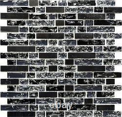BLACK Clear Translucent Mosaic tile BRICK GLASS/STONE WALL Bath 87-v132810sheet