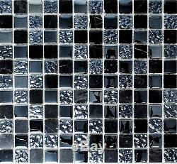 BLACK/GRAY MIX Mosaic tile GLASS & STONE clear&frosted Mix WALL 82-0208 10sheet