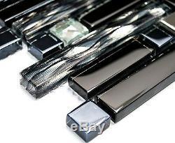 BLACK/SILVER MIX Mosaic tile GLASS/STEEL BRICK WALL Bath&Kitchen 86-030210sheet