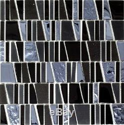 BLACK/SILVER MIX Translucent Mosaic tile GLASS/STONE Wall Bath 87-010710sheet