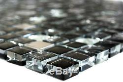 BLACK/SILVER MIX Translucent Mosaic tile clear GLASS/STEEL Wall 92-0304 10sheet