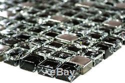 BLACK/SILVER Mix clear 3D Mosaic tile GLASS WALL Bath&Kitchen -92-1099 10 sheet
