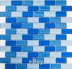 BLUE MIX BRICK 3D Mosaic clear tile GLASS WALL Bath&Kitchen 76-0404 10 sheet