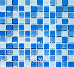 BLUE MIX CLEAR 3D Mosaic tile GLASS Square WALL Bath&Kitchen 72-0406 10 sheet