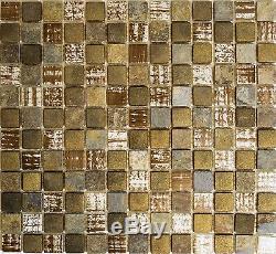 BROWN/GOLD MIX Mosaic tile GLASS/STONE Mix WALL Kitchen&Bath 82-1206 10sheet