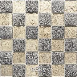 BROWN/GOLD Translucent Mosaic tile GLASS/RESIN WALL Splashback 78B-070210 sheet