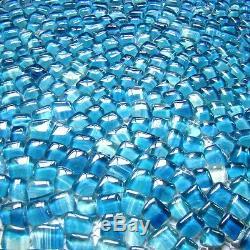 Baroque free stone blue glass mosaic tiles for bathroom shower wall backsplash