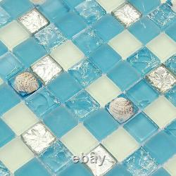 Bathroom Tiles Blue White Shell Mosaic tile Blue White Glass Backsplash (11PCS)