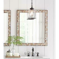 Bathroom Vanity Mirror 28 in. W x 33 in. L Wall Mount Marble Tile Frame