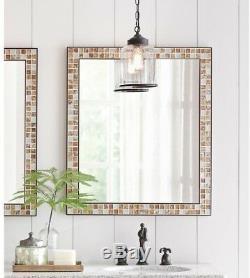 Bathroom Vanity Mirror 28 in. X 33 in. Wall Mount Marble Tile Frame Espresso