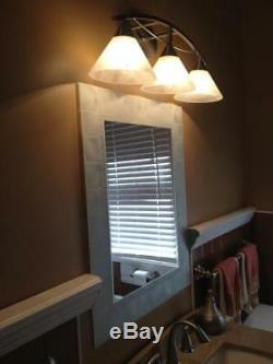 Bathroom Wall Vanity Mirror Any Room Hanging Glass Tile Block Framed 30in x 24in