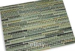 Beach Break Hand Painted Linear Glass Mosaic Tiles Backsplash/Bathroom Tile