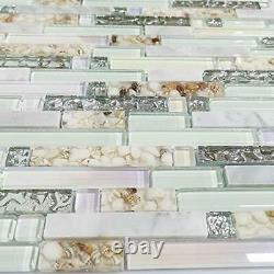 Beach Style Wall Tile Mosaic C. AEENCC0002-11PCS(12.4x11.8x0.31 Inches/PCS)
