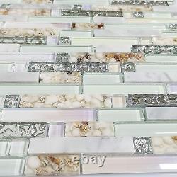 Beach Style Wall Tile Mosaic Kitchen Backsplash Tiles Green Bathroom Silver Art