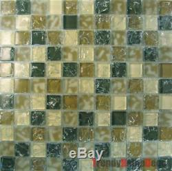 Beige Brown Crackle Glass Mosaic Tile backsplash Kitchen wall sink bath