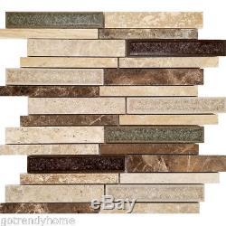 Beige Brown Interlocking Pattern Glass Stone Mosaic Tile Kitchen Wall Backsplash